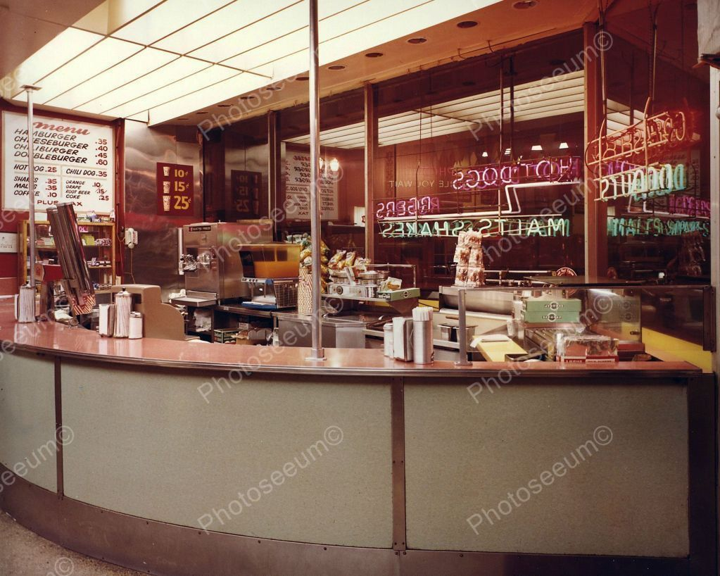 Arcade Snack Bar Vintage 1960's 8x10 Reprint Old Photo