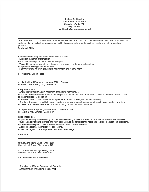 agricultural engineer resume - Agricultural Engineer Sample Resume