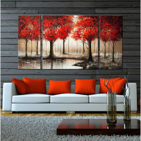 Hand-painted \u0027Through The Trees\u0027 Gallery-wrapped 3-piece Art Set - cuadros para decorar