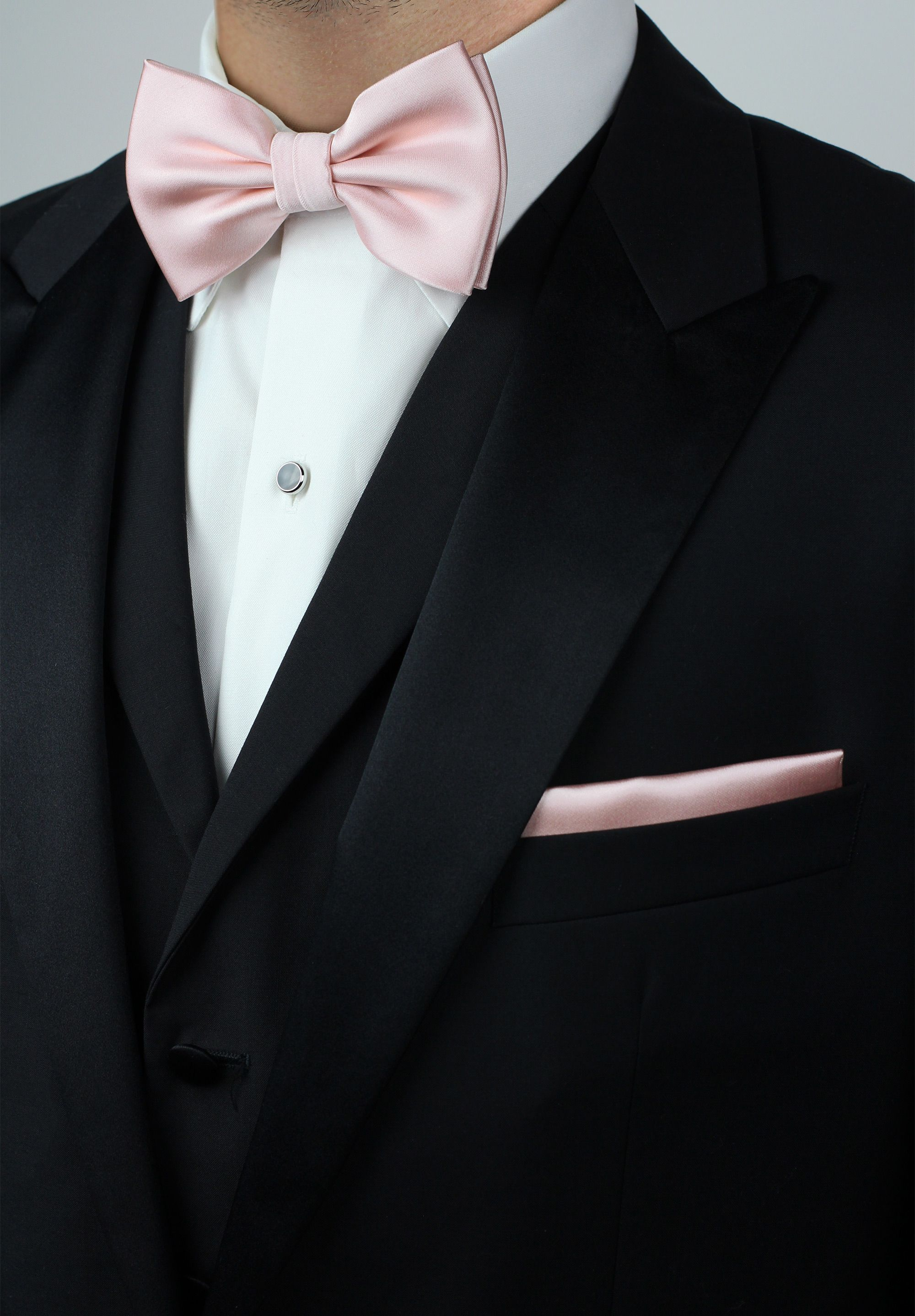 2ea20ecdf188 Mens classic tuxedo with bow tie in and pocket square in blush pink ...