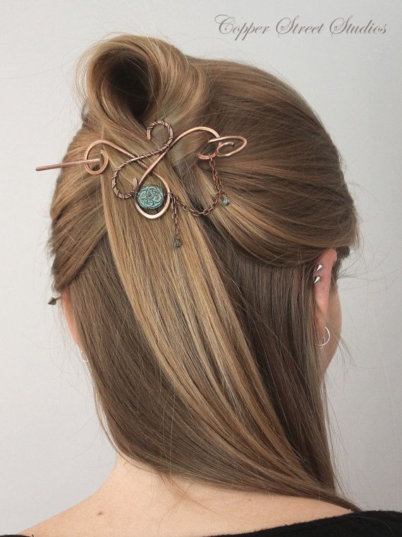 Copper hair stick with cat