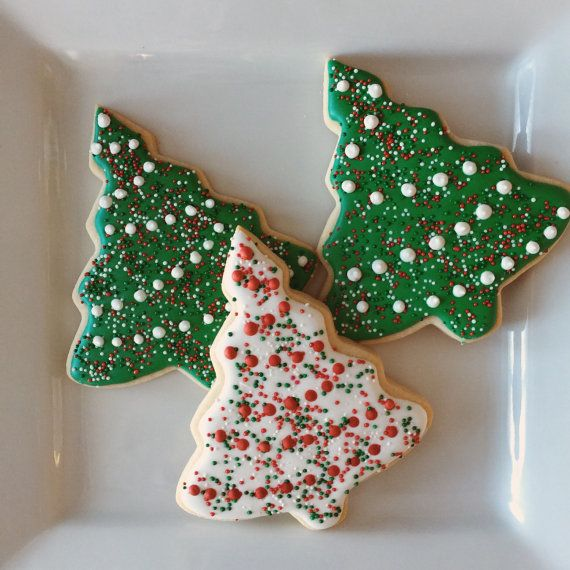 sprinkle christmas tree cookies by cousincookies on etsy - Decorating Cookies With Sprinkles For Christmas