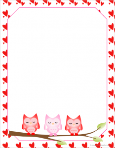 valentine owls letter paper 233x300 Valentines Day Letterhead, Writing Paper, Notepads