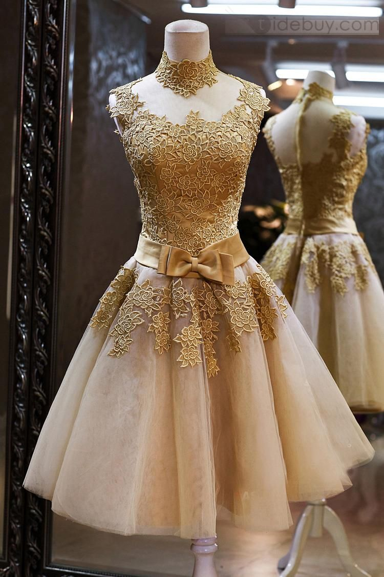 c892c43723 Sparkly High Neck Gold Lace Homecoming Dresses