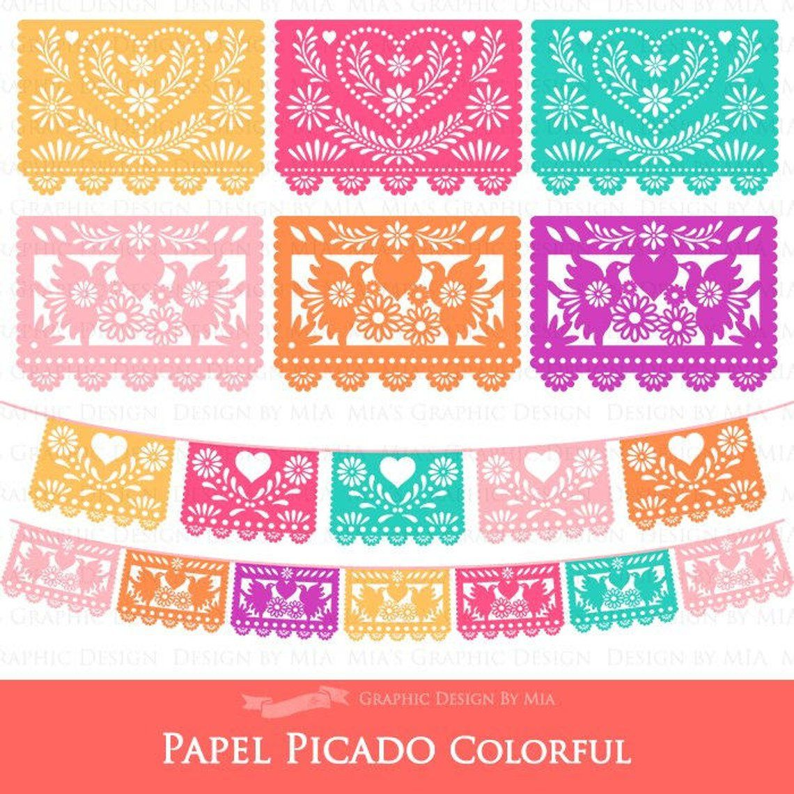 Papel Picado Clipart Mexican Bunting Banner Fiesta Bunting Etsy In 2021 Papel Picado Flag Template Bunting Template