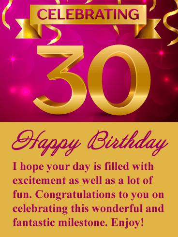 Fantastic Milestone Happy 30th Birthday Card Birthday Greeting Cards By Davia 30th Birthday Cards 30th Birthday Wishes Happy 30th Birthday Wishes
