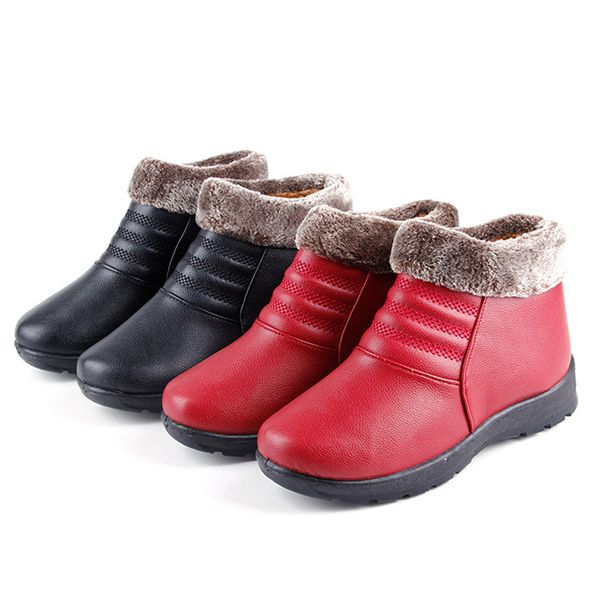 Warm Faux Fur Lining Round Toe Pure Color Ankle Short Boots