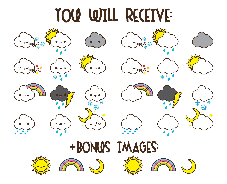 Weather clipart, kawaii weather clipart, kawaii rain