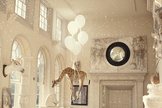 Giraffe Suspended From The Ceilling In The Ceremony Room At Aynhoe