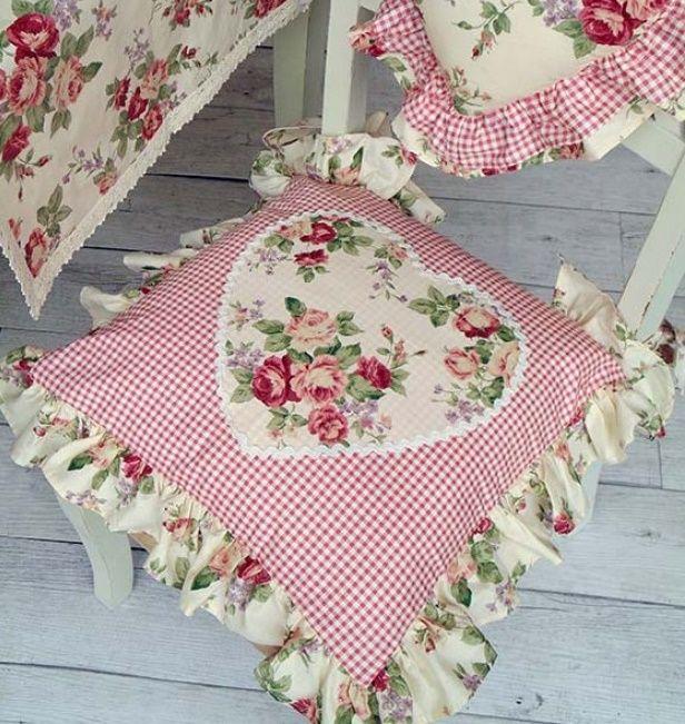 cuscini per sedie in stile provenzale stampa romantica con cuore