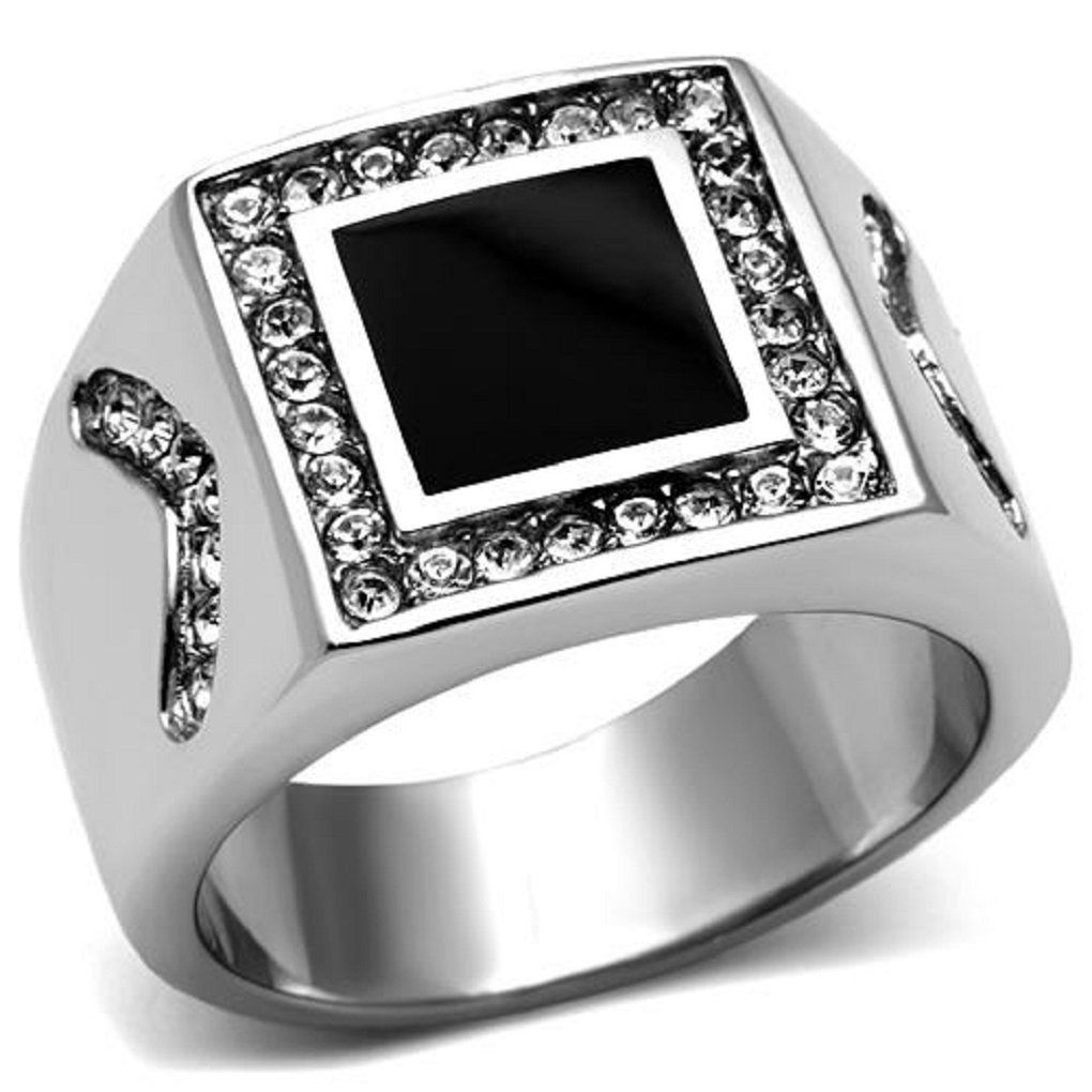 Jet Black Onyx Square Center Stone Silver Stainless Steel Mens Ring