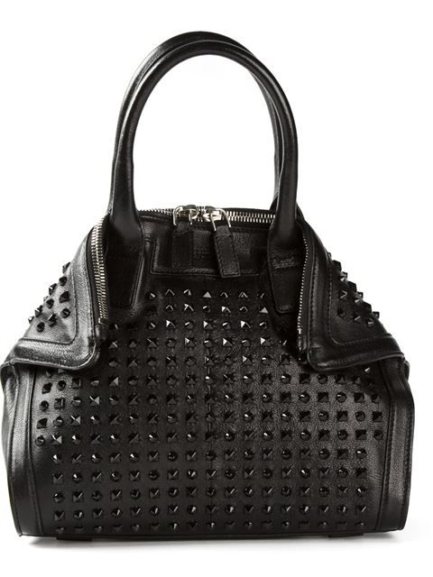 2b2f69c96b9c Alexander McQueen Black Studded Top-Handle Tote with Adjustable Shoulder  Strap
