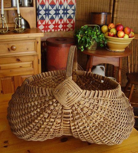 Primitive Large Antique Gathering Buttocks Basket God's Eye Wrapped Handle c1920