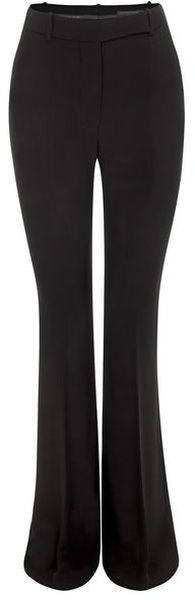 ALEXANDER MCQUEEN Black Flared Crepe Trousers  - Lyst
