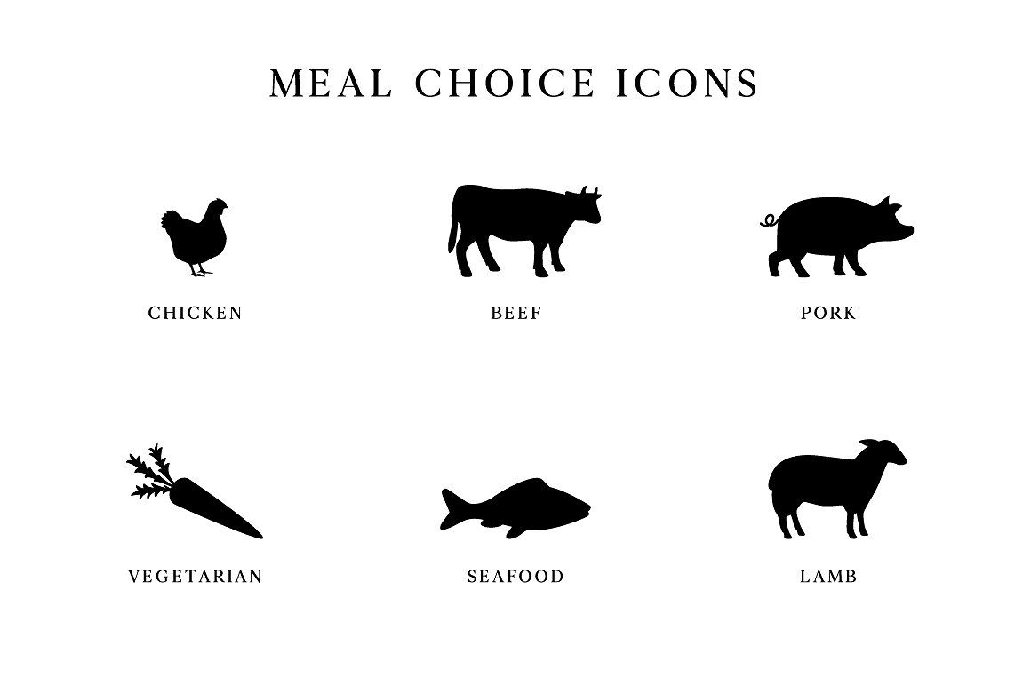 Wedding Meal Choice Icons Clipart By Birdiy Design On