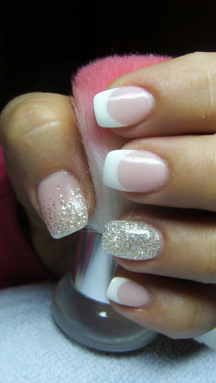 French manicure with silver glitter - Nagel ontwerp | Pinterest ...