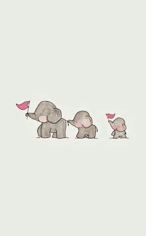 Background Cute Elephant Gray Jambo Kawaii Three Wallpaper