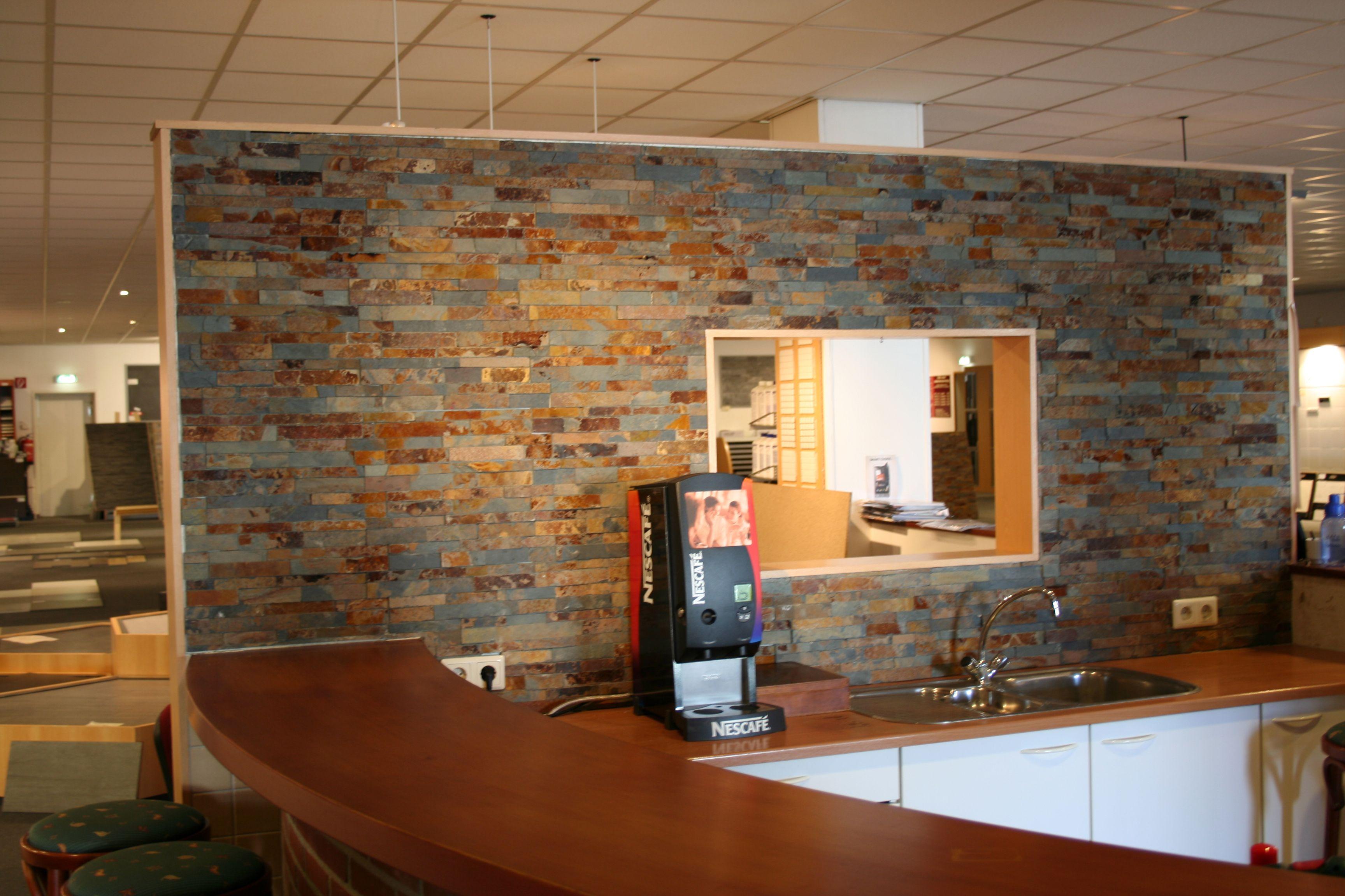 Multi color steenstrips variformaat dun 12x40 cm mooi for Kantoor in woonkamer