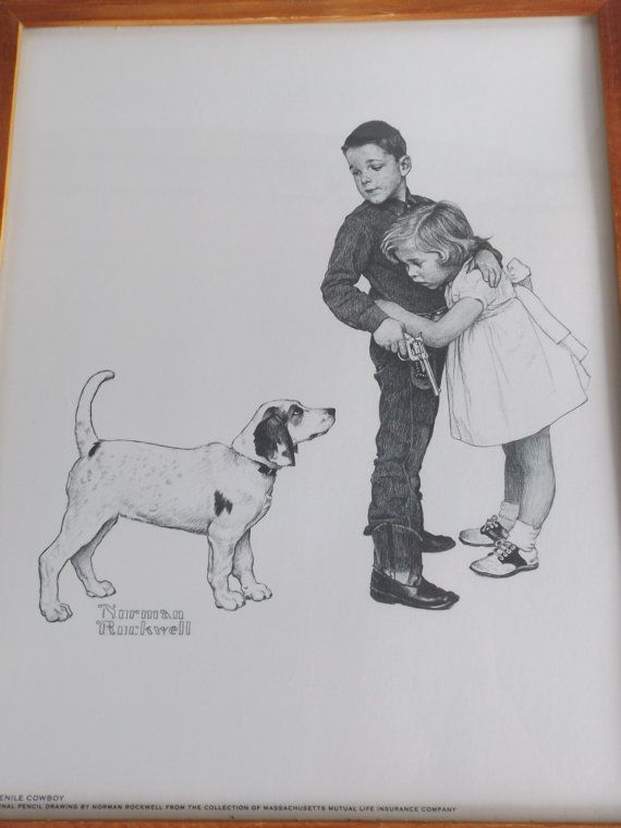 Norman Rockwell Original Pencil Drawing Vintage Print Juvenile