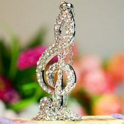 $3.58 Fashion Large Inlaid Diamond Musical Note Pendant Style Neck Ornament Necklace for Female