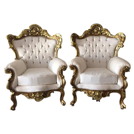 Italian Rococo Style Armchairs A Pair