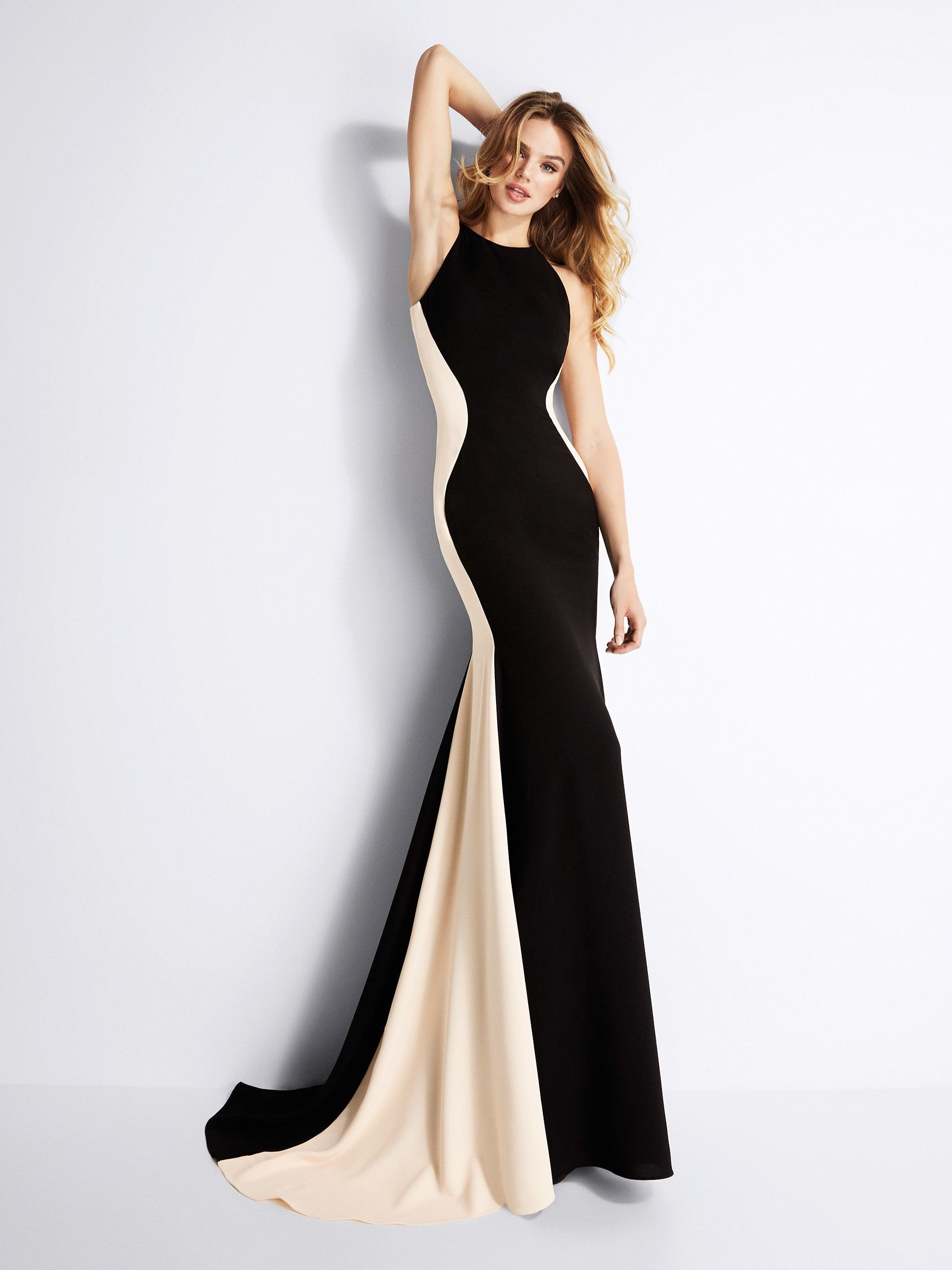 19e7d795bc1 Gerlinde  Vestido de fiesta sirena con un diseño que estiliza la silueta a  través del contraste de sus colores. Sensual y femenino.