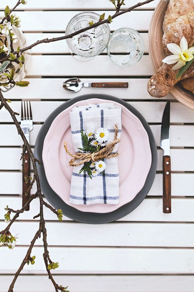 Elly Dish Towel White Blue Ikea Rustic Table Setting Ikea Table Table Setting Inspiration