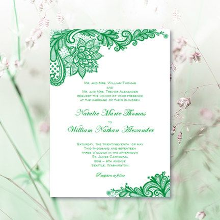 Vintage Lace Wedding Invitations Emerald Green By Weddingtemplates