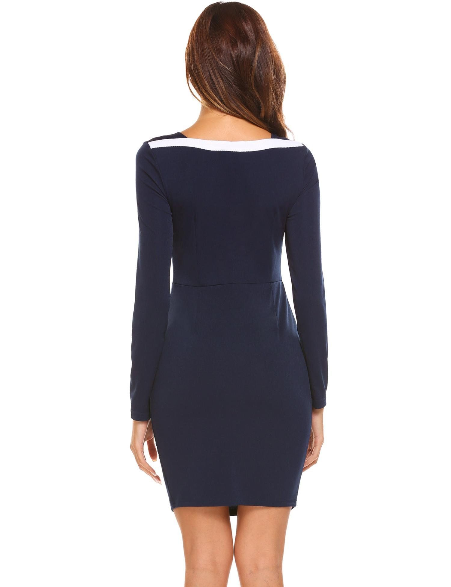 a155c4e1099c Zeagoo Womens Square Neckline Long Sleeve Elastic Colorblock Patchwork Work Bodycon  Dress Dark BlueS -- Want to know more, click on the image.