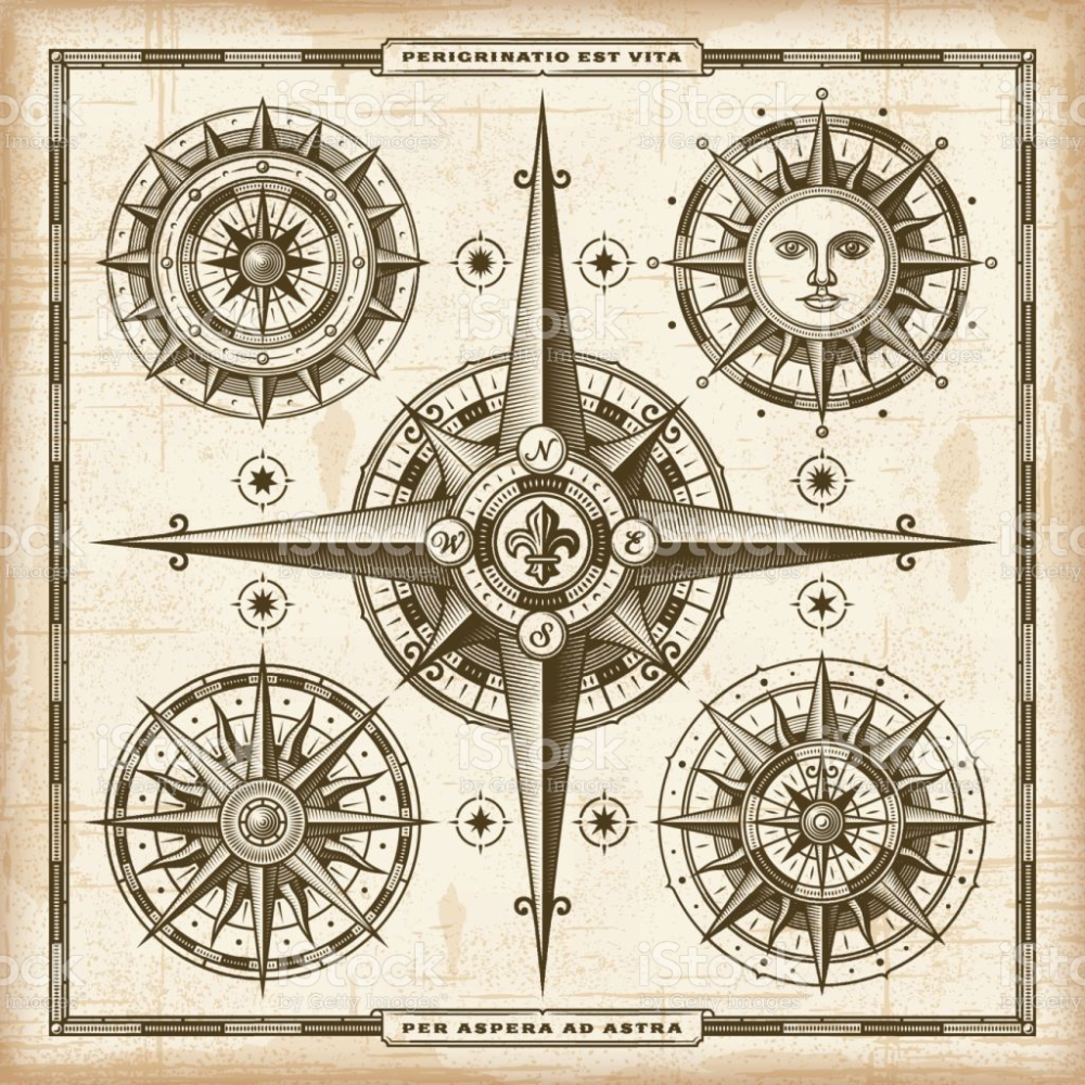 Vintage Compass Roses Set A Set Vintage Nautical Compass Roses In Retro Woodcut Style Eps10 Vector Illustrat In 2020 Vintage Compass Nautical Compass Vintage Nautical