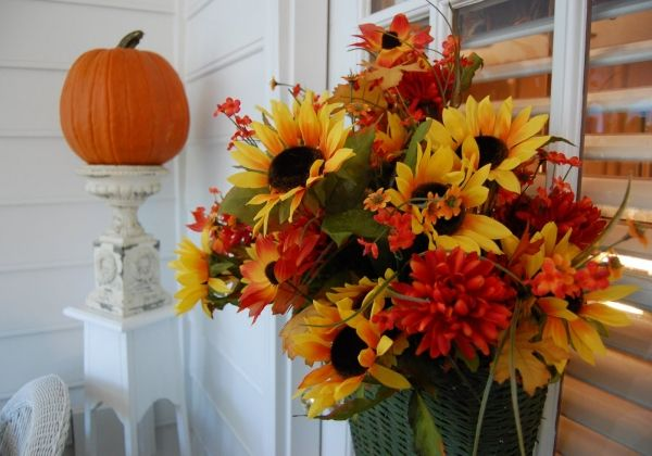 Deko-vor der Haustür-Kürbis Blumenstrauß-Arrangement ...