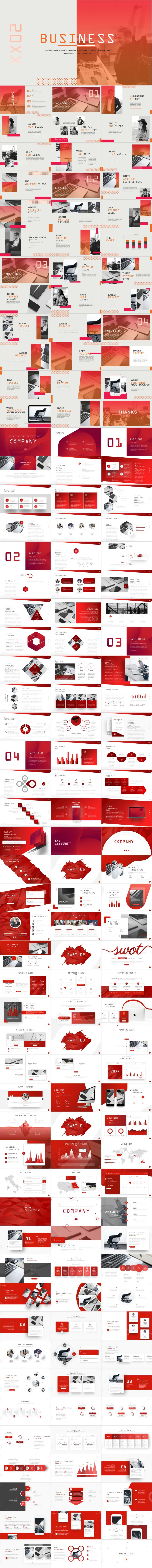4 in 1 Red Business PowerPoint template #powerpoint