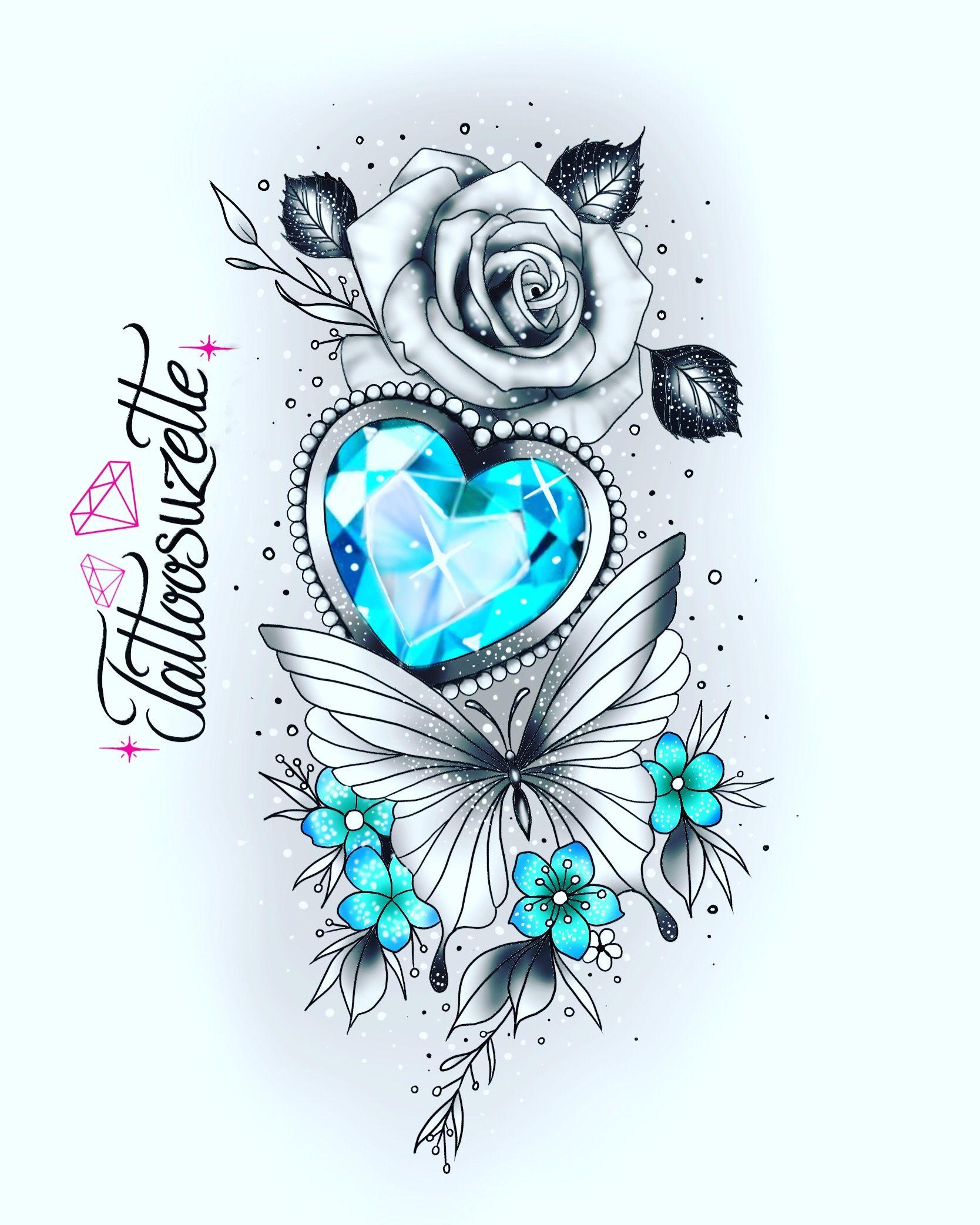 Photo of Girly diamond butterfly tattoo design