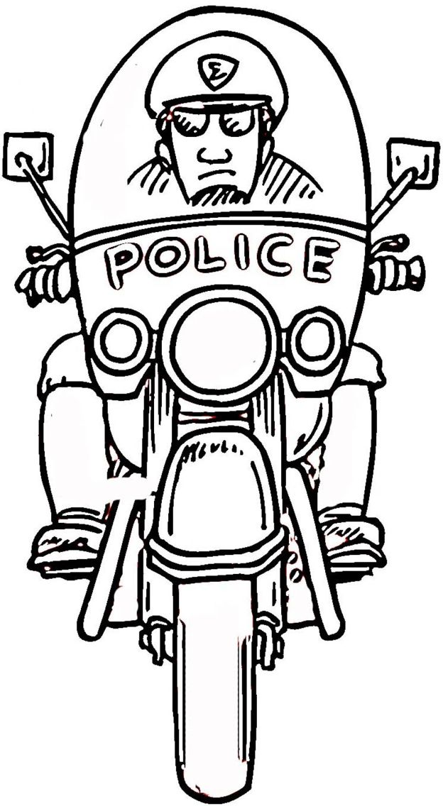 Motorcycle Cop | Coloring pages, Police, Coloring books