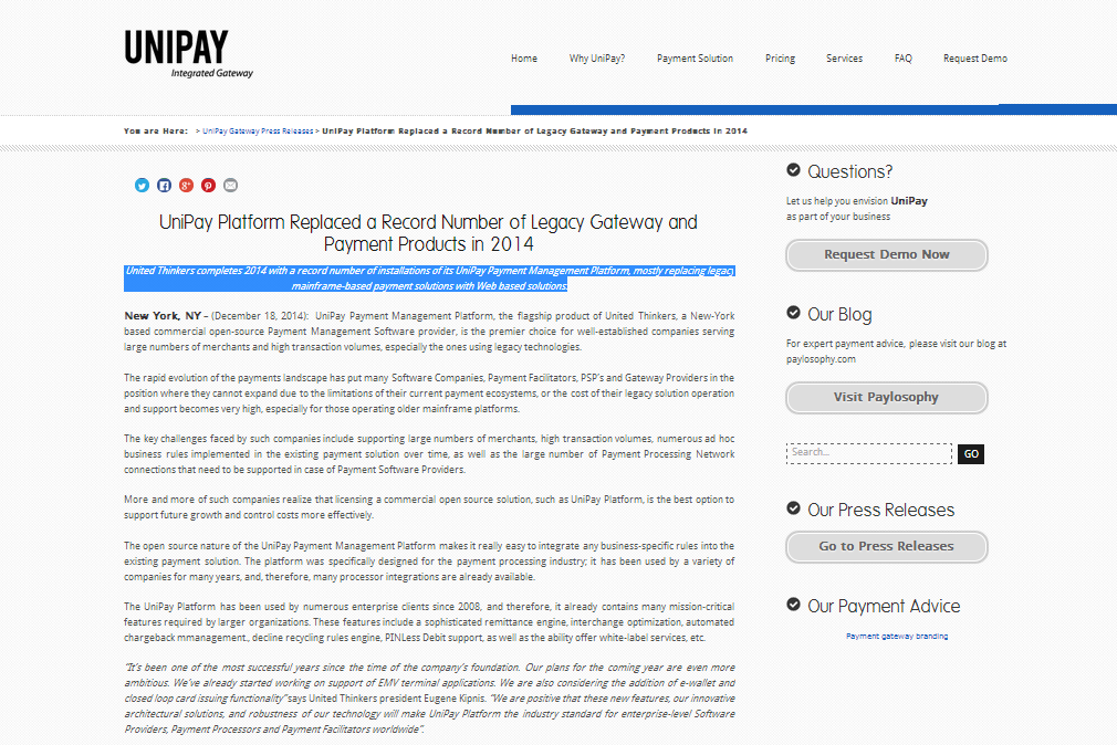 Check out a short summary of 2014: #UnitedThinkers completes 2014 with a record number of installations of its #UniPay Payment Management Platform, mostly replacing legacy mainframe-based payment solutions with Web based solutions. Interested in the details? http://unipaygateway.com/en/unipay-gateway-press-releases/unipay-platform-replaced-a-record-number-of-legacy-gateway-and-payment-products-in-2014