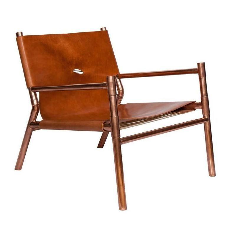 Erickson Aesthetics Slung Calf Copper Lounge Chair Mid Century