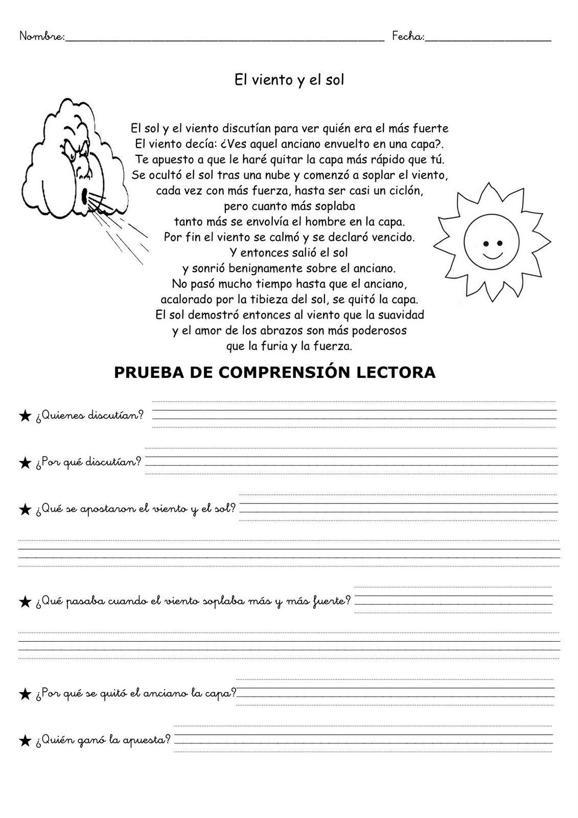 EL VIENTO Y EL SOL-1   Comprensión lectora, Lectura de
