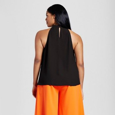 3532f1c3d6113 Plus Size Women s Plus Black High Neck Scallop Trim Tank Top 1X - Victoria  Beckham for