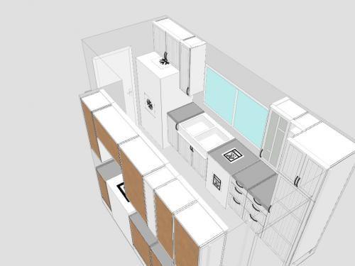 Galley Kitchen Design With Fridge Next To Sink
