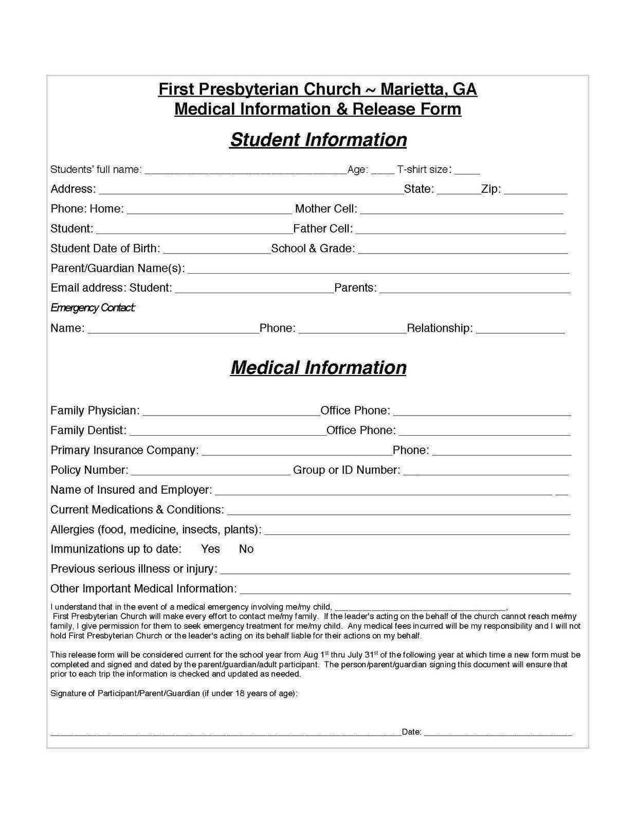 28 Medical Information form Template in 2020 Medical