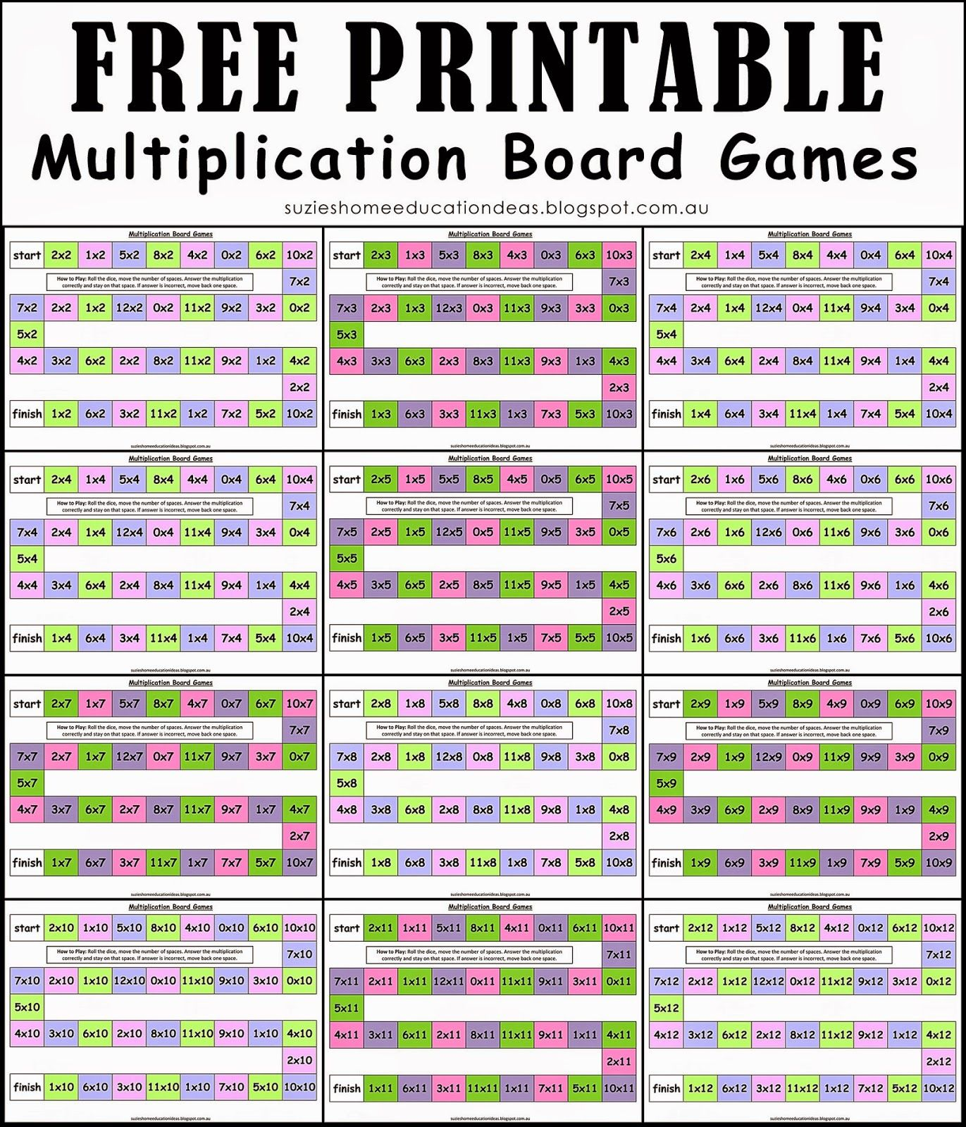FREE Multiplication Board Games | Multiplication, Board games and ...