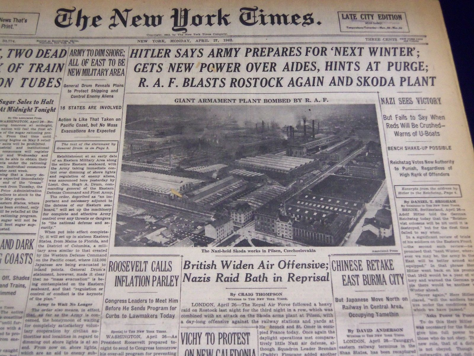 1942 April 27 New York Times - Hitler Says Army Prepares For Winter ...