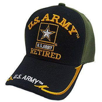 5314a9e59b2 US Military Army Gold Star Retired Two Tone Black Green Officially Licensed  Cap at Amazon Men s Clothing store