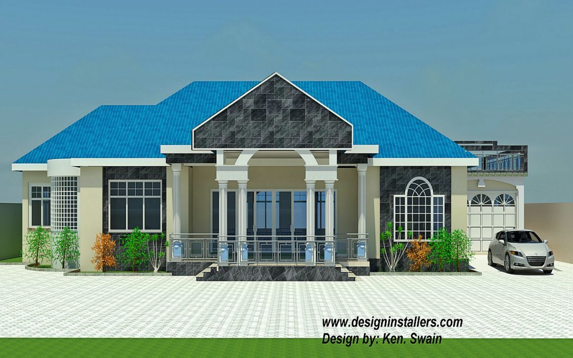 Three bedrooms two bathrooms a kitchen on 4 bedroom house for Modern house plans in ghana