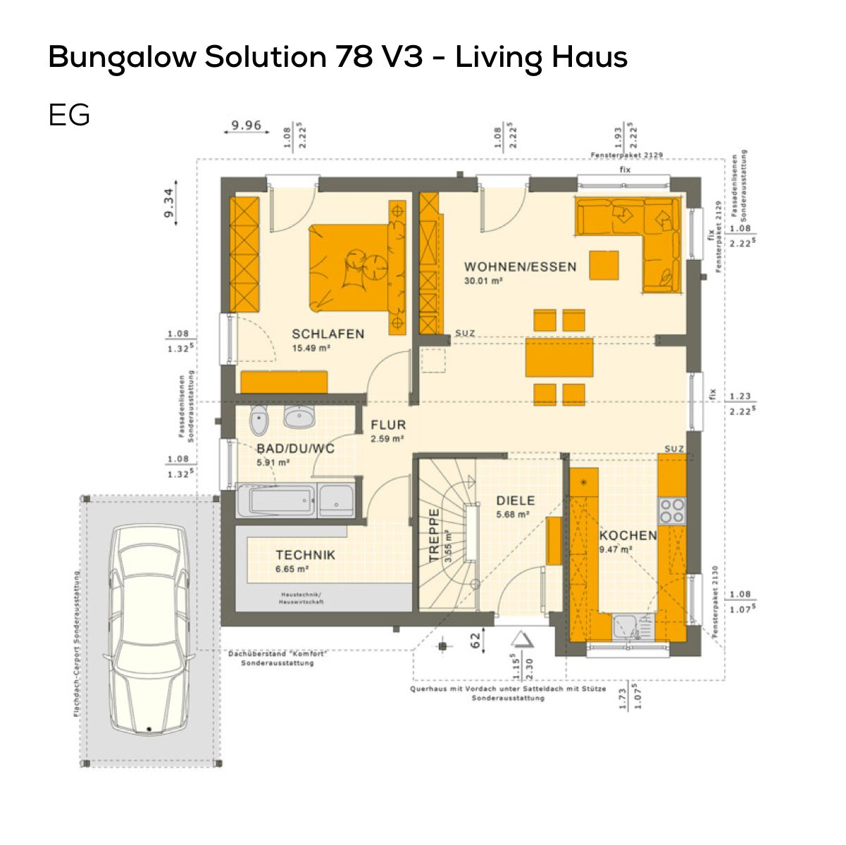 Grundriss Bungalow Haus Eingeschossig Mit Satteldach Architektur Carport 2 Zimmer 78 Qm Wfl Ebenerdig Barrieref Grundriss Bungalow Living Haus Bungalow