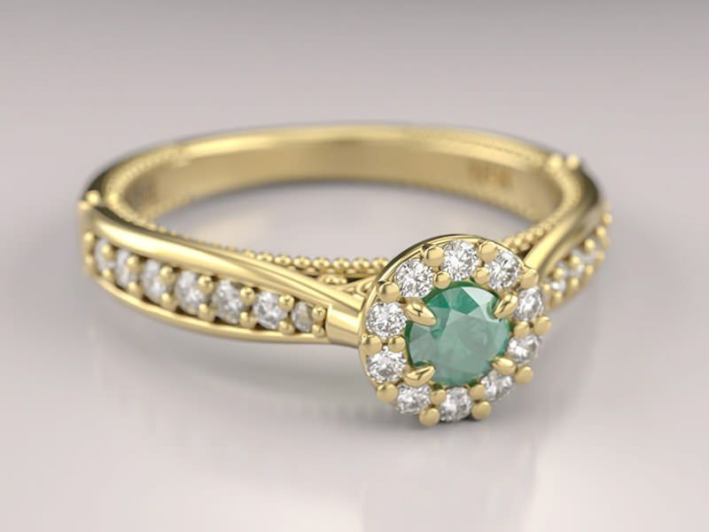 3a3159bf5f0 ... noivado com esmeraldas para você se inspirar - Poésie. 16 anel -uni-princess-esmeralda-amarelo-18k