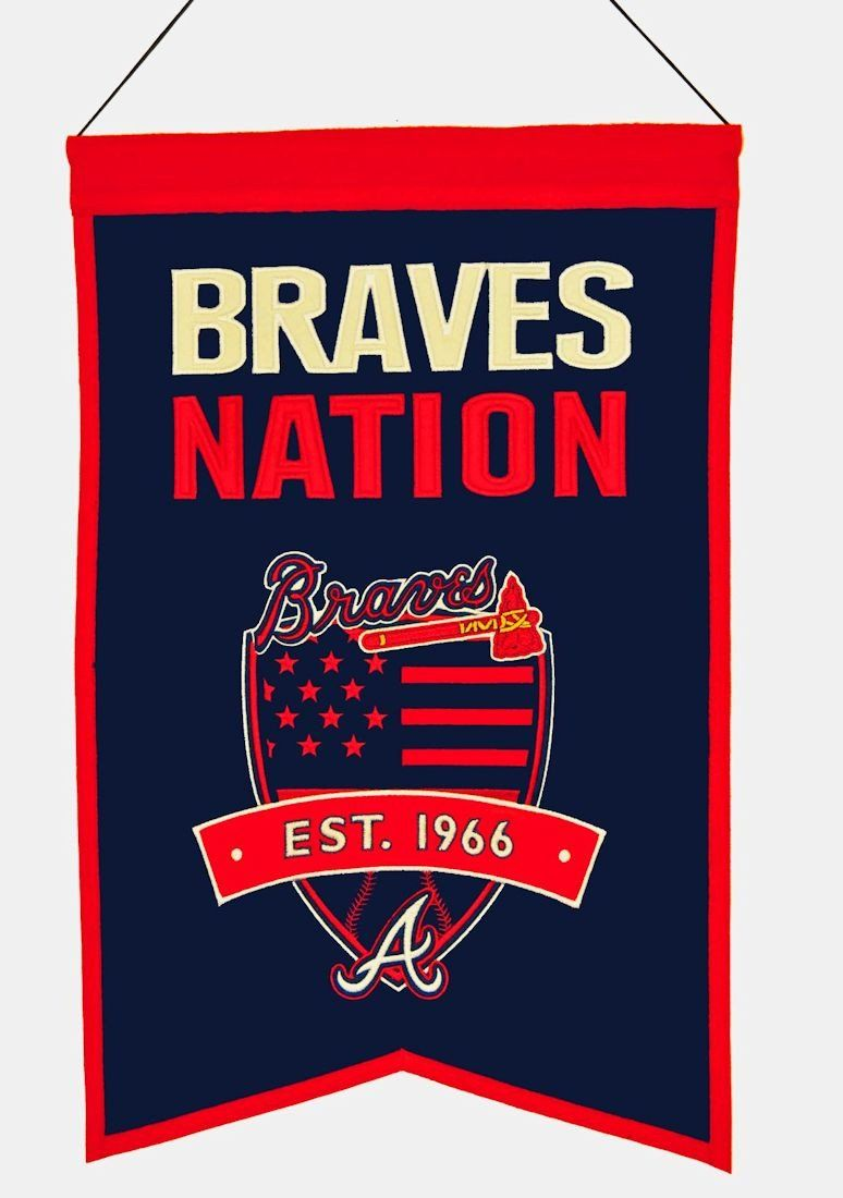 Atlanta Braves Banner 14x22 Wool Nations Special Order Backorder Atlanta Braves Braves Gifts For Sports Fans
