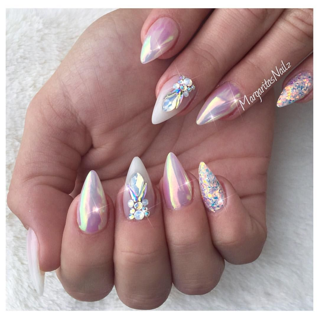 Nude Chrome Nails Glitter nail design (@margaritasnailz) on ...