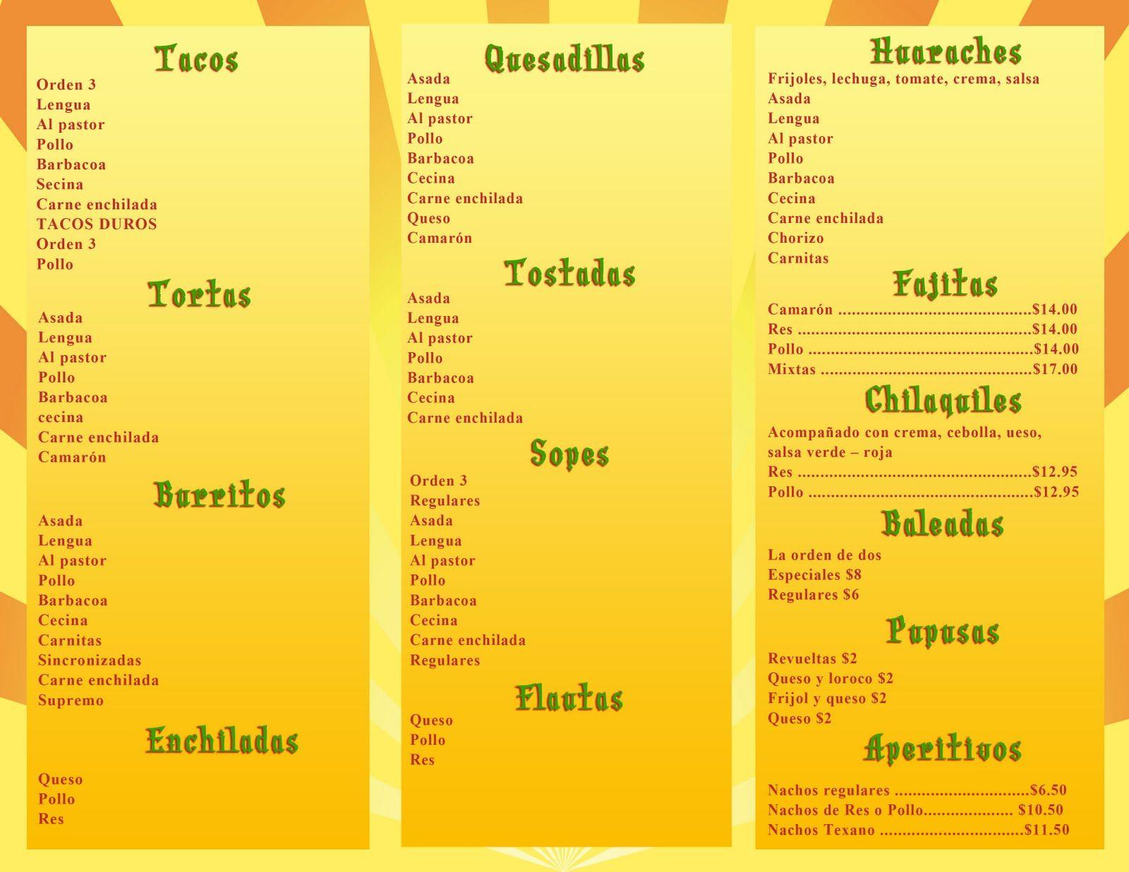 Restaurante Menu