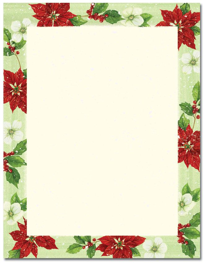Poinsettia & Magnolia Letterhead | Holiday Papers | Pinterest ...